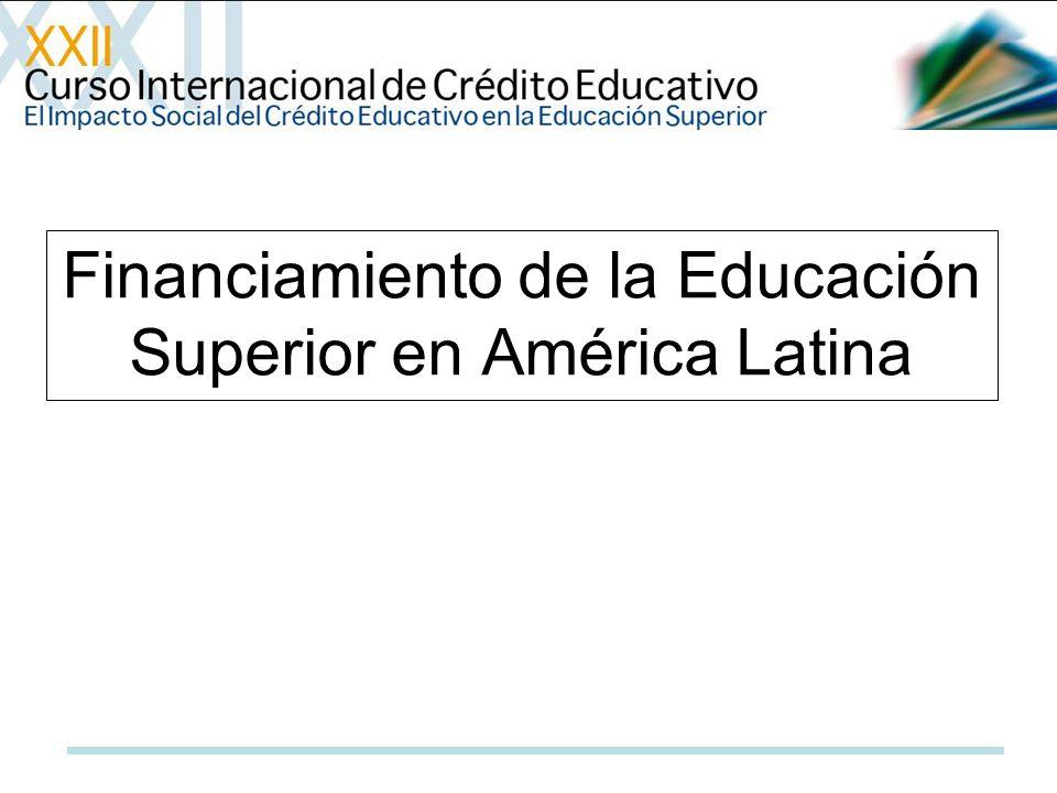 1-Las mejoras económicas de la región latinoamericana experimentadas hasta el 2007, no tuvieron un impacto favorable en los aportes que hacen los gobiernos a la educación superior.