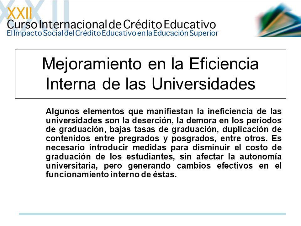 Algunos elementos que manifiestan la ineficiencia de las universidades son la deserción, la demora en los períodos de graduación, bajas tasas de graduación, duplicación de contenidos entre pregrados y posgrados, entre otros.