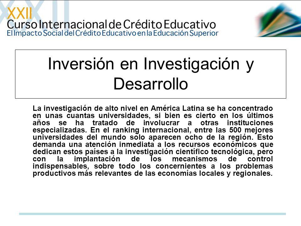 La investigación de alto nivel en América Latina se ha concentrado en unas cuantas universidades, si bien es cierto en los últimos años se ha tratado de involucrar a otras instituciones especializadas.