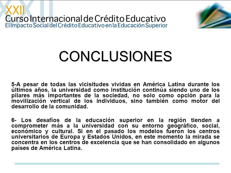 CONCLUSIONES 5-A pesar de todas las vicisitudes vividas en América Latina durante los últimos años, la universidad como institución continúa siendo uno de los pilares más importantes de la sociedad, no solo como opción para la movilización vertical de los individuos, sino también como motor del desarrollo de la comunidad.