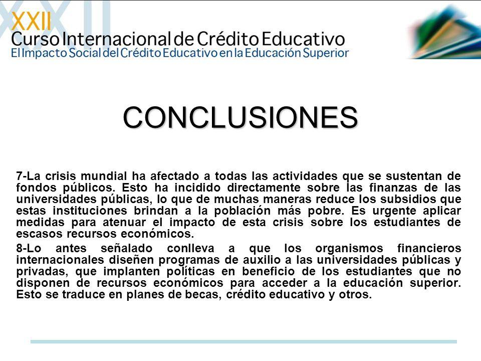 CONCLUSIONES 7-La crisis mundial ha afectado a todas las actividades que se sustentan de fondos públicos.
