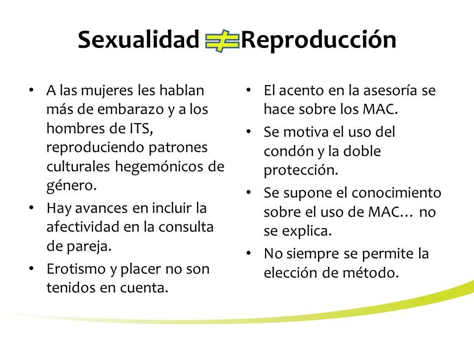 Sexualidad Reproducción A las mujeres les hablan más de embarazo y a los hombres de ITS, reproduciendo patrones culturales hegemónicos de género.