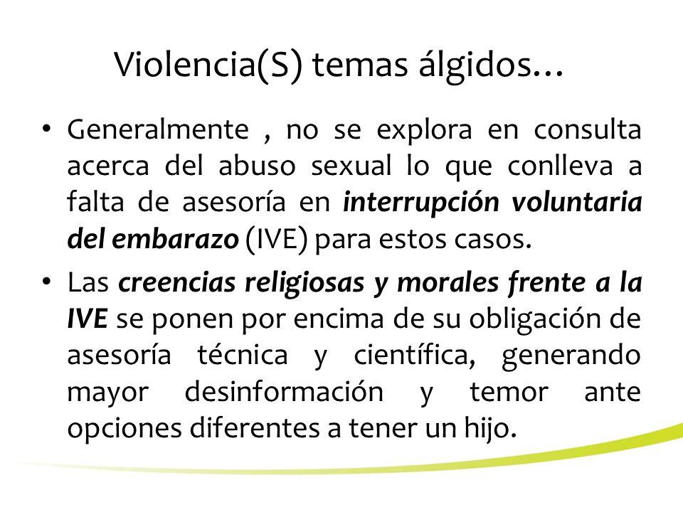 Violencia(S) temas álgidos… Generalmente, no se explora en consulta acerca del abuso sexual lo que conlleva a falta de asesoría en interrupción voluntaria del embarazo (IVE) para estos casos.