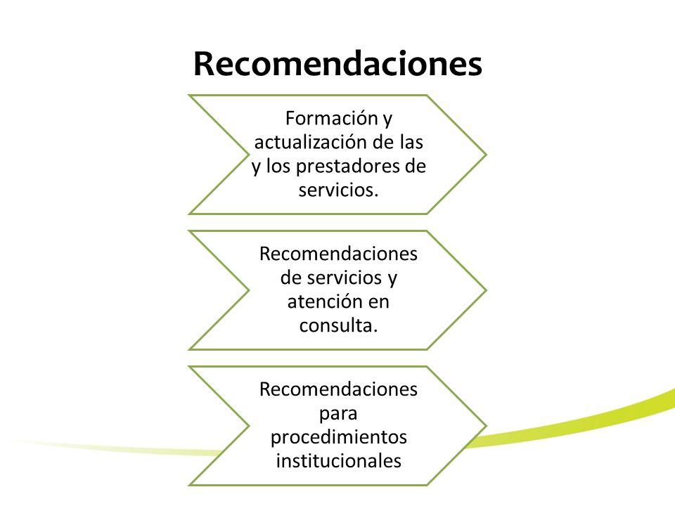 Recomendaciones Formación y actualización de las y los prestadores de servicios.