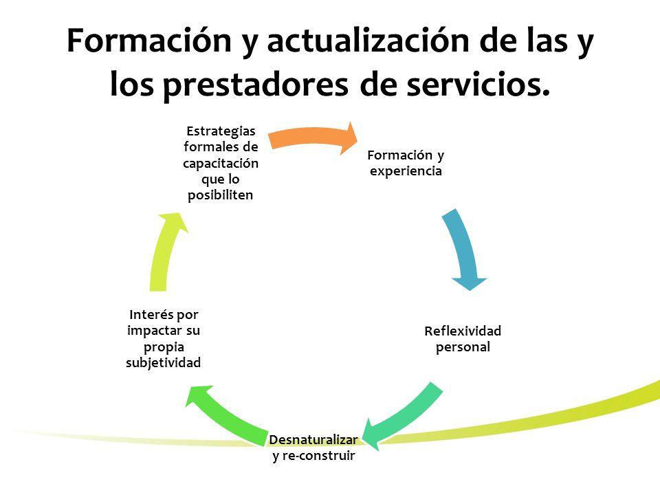 Formación y actualización de las y los prestadores de servicios.