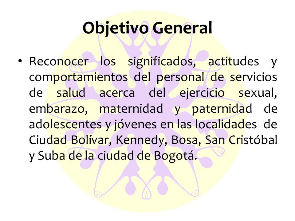 Objetivo General Reconocer los significados, actitudes y comportamientos del personal de servicios de salud acerca del ejercicio sexual, embarazo, maternidad y paternidad de adolescentes y jóvenes en las localidades de Ciudad Bolívar, Kennedy, Bosa, San Cristóbal y Suba de la ciudad de Bogotá.