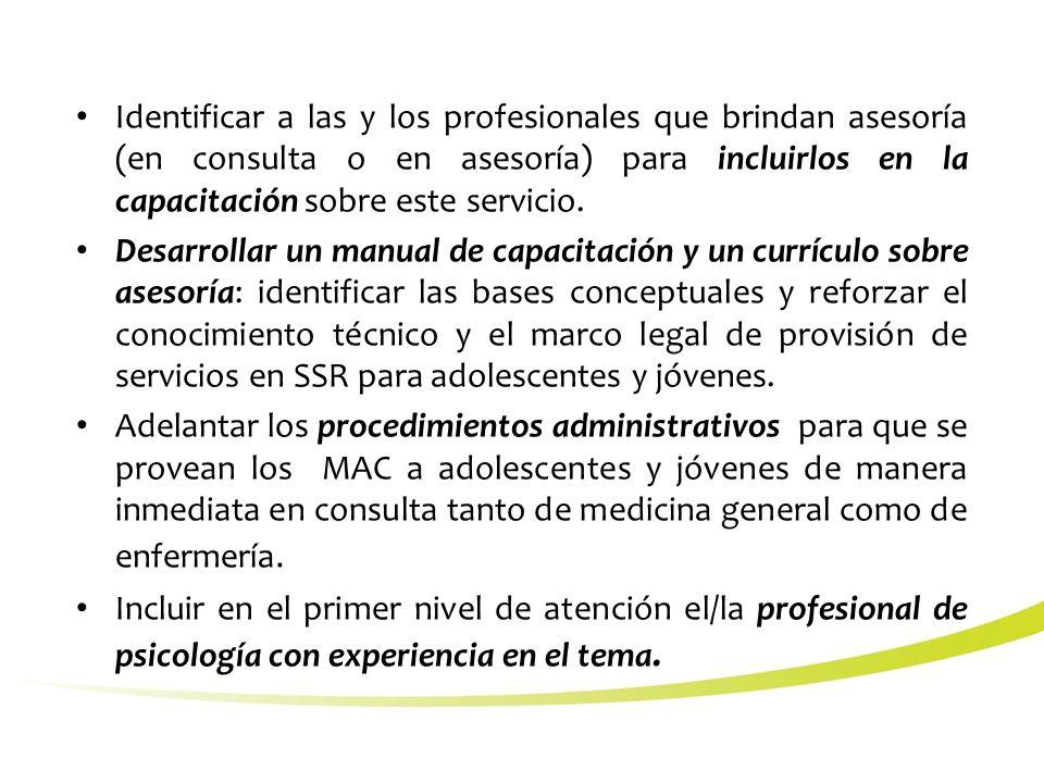 Identificar a las y los profesionales que brindan asesoría (en consulta o en asesoría) para incluirlos en la capacitación sobre este servicio.
