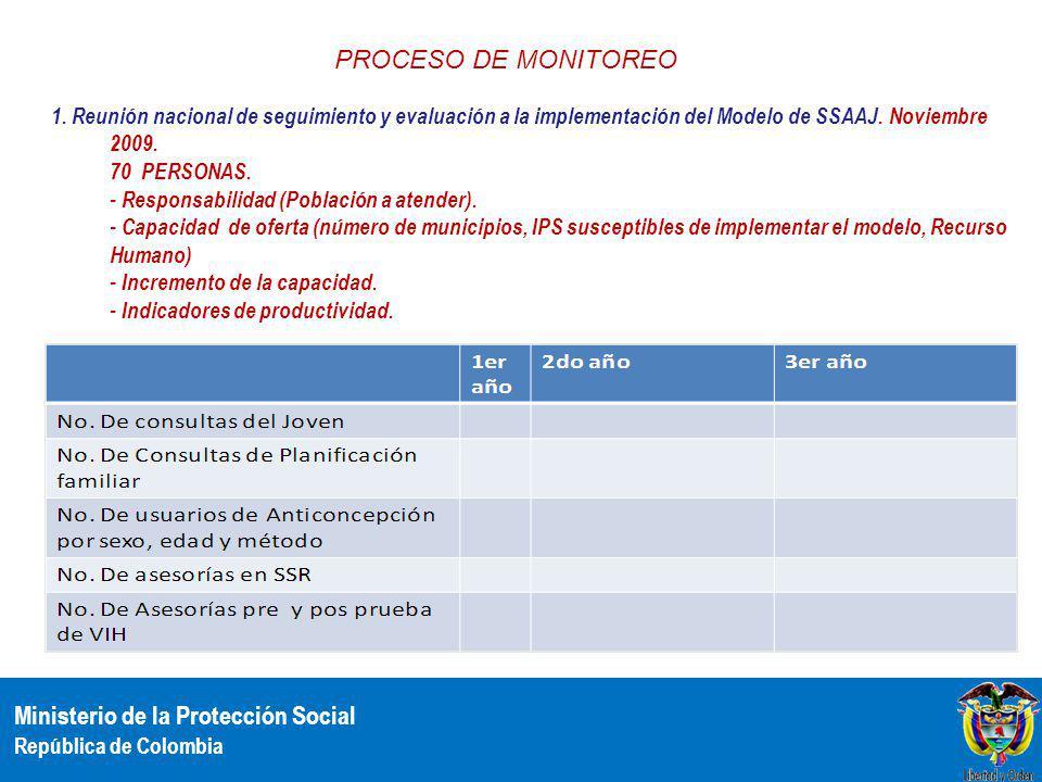 Ministerio de la Protección Social República de Colombia 1. Reunión nacional de seguimiento y evaluación a la implementación del Modelo de SSAAJ. Novi