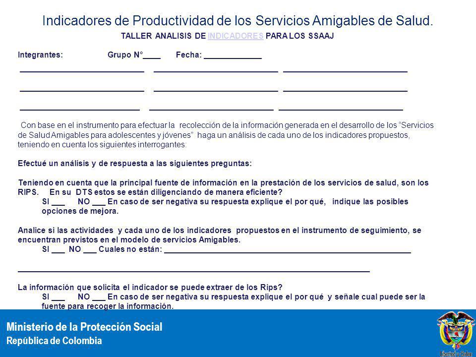 Ministerio de la Protección Social República de Colombia Indicadores de Productividad de los Servicios Amigables de Salud. TALLER ANALISIS DE INDICADO