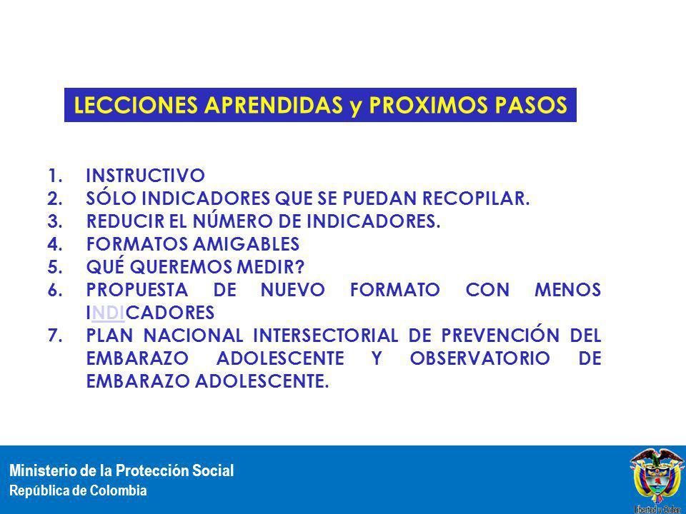 Ministerio de la Protección Social República de Colombia 1.INSTRUCTIVO 2.SÓLO INDICADORES QUE SE PUEDAN RECOPILAR. 3.REDUCIR EL NÚMERO DE INDICADORES.