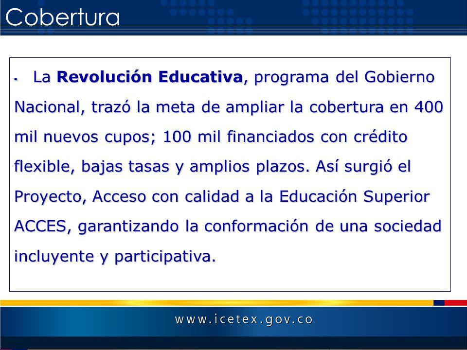 Cobertura La Revolución Educativa, programa del Gobierno Nacional, trazó la meta de ampliar la cobertura en 400 mil nuevos cupos; 100 mil financiados