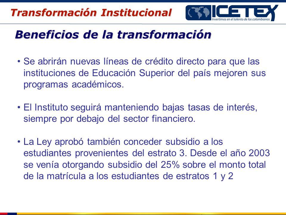 Beneficios de la transformación Se abrirán nuevas líneas de crédito directo para que las instituciones de Educación Superior del país mejoren sus prog