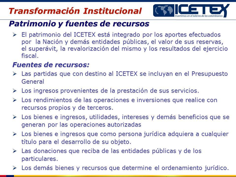 Patrimonio y fuentes de recursos El patrimonio del ICETEX está integrado por los aportes efectuados por la Nación y demás entidades públicas, el valor