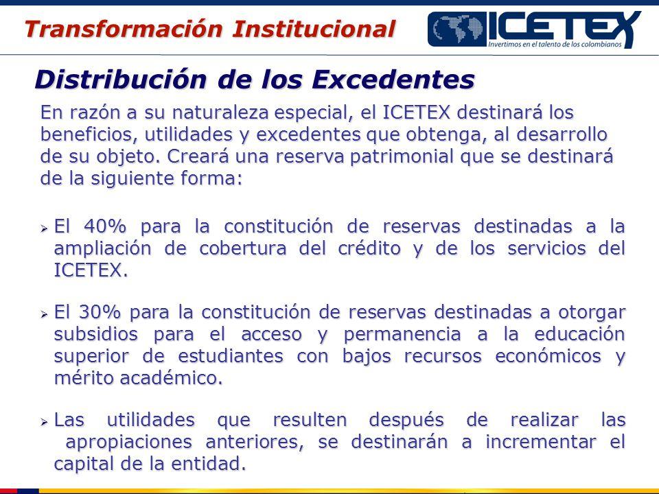Distribución de los Excedentes En razón a su naturaleza especial, el ICETEX destinará los beneficios, utilidades y excedentes que obtenga, al desarrol