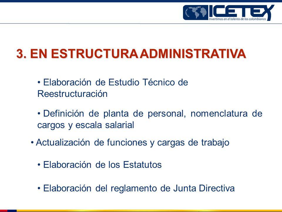 Elaboración de Estudio Técnico de Reestructuración Actualización de funciones y cargas de trabajo Elaboración de los Estatutos 3. EN ESTRUCTURA ADMINI