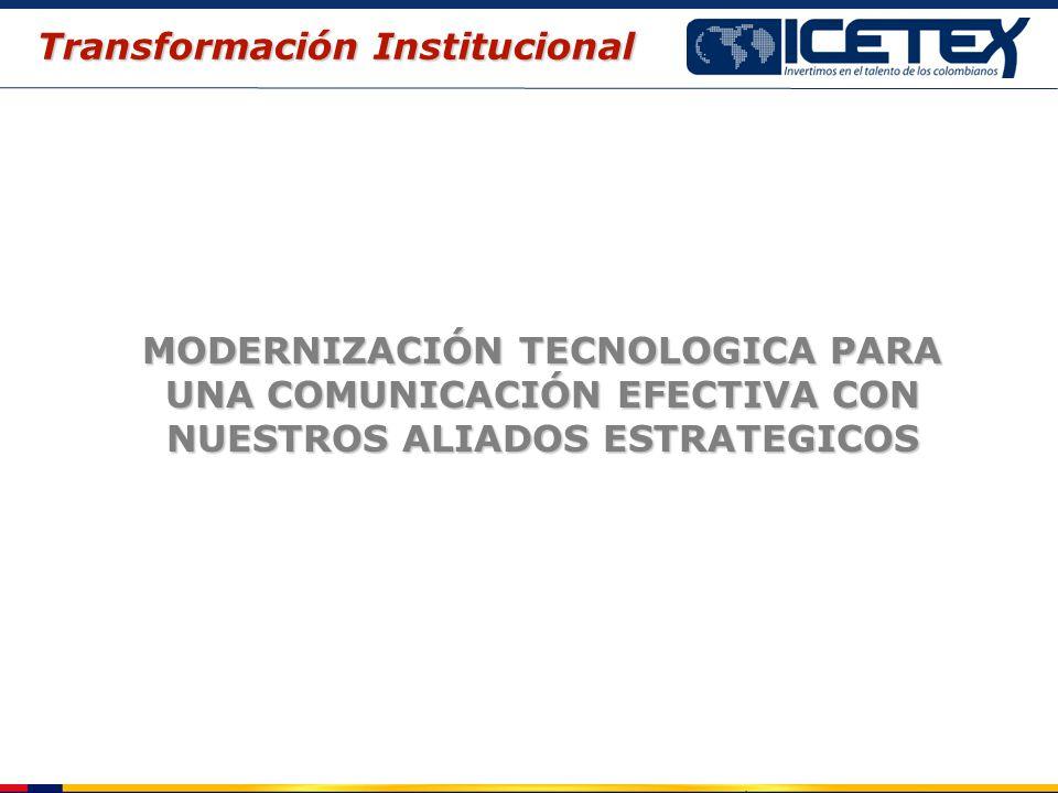 MODERNIZACIÓN TECNOLOGICA PARA UNA COMUNICACIÓN EFECTIVA CON NUESTROS ALIADOS ESTRATEGICOS Transformación Institucional
