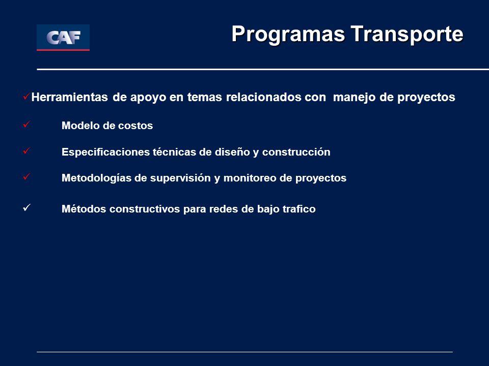Herramientas de apoyo en temas relacionados con manejo de proyectos Modelo de costos Especificaciones técnicas de diseño y construcción Metodologías de supervisión y monitoreo de proyectos Métodos constructivos para redes de bajo trafico Programas Transporte Programas Transporte