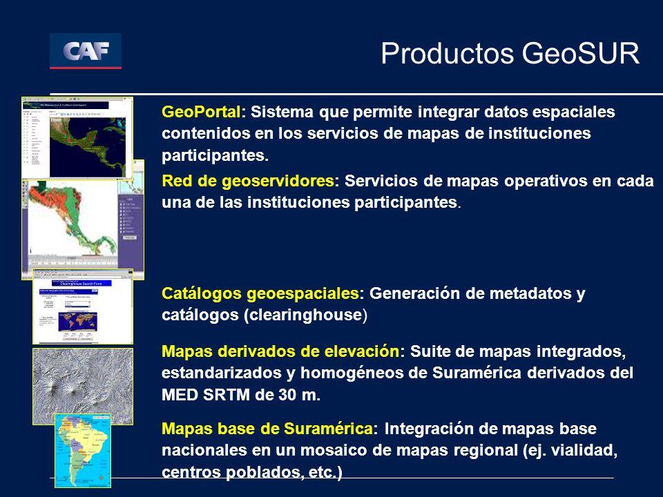 Productos GeoSUR Red de geoservidores: Servicios de mapas operativos en cada una de las instituciones participantes.