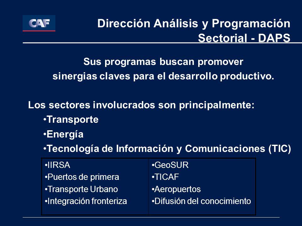 Etapas participación DAPS Planificación estratégica sectorial Preinversión (Proinfra, FAT, Cooperación española) Evaluación de proyectos Coordinación con áreas de negocios: público o privado