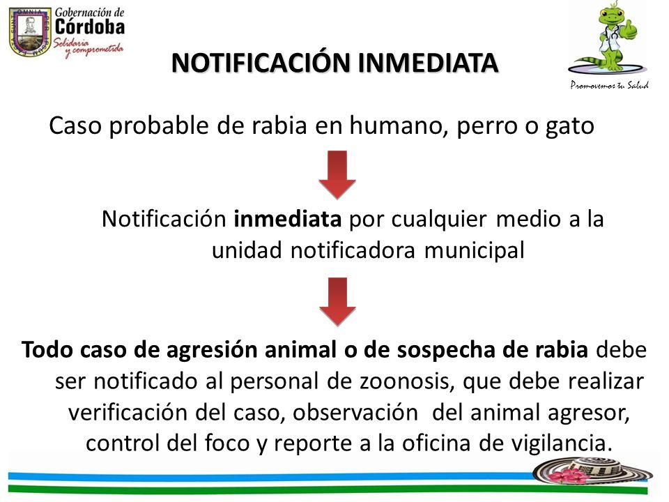 Promovemos tu Salud NOTIFICACIÓN INMEDIATA Caso probable de rabia en humano, perro o gato Notificación inmediata por cualquier medio a la unidad notif