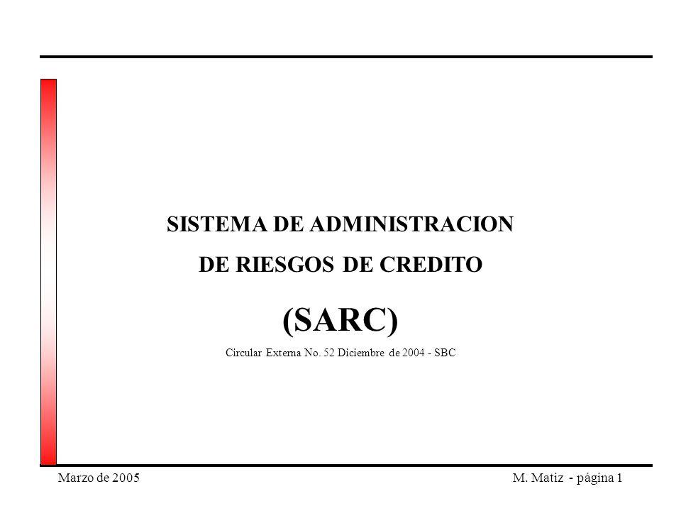 Marzo de 2005M. Matiz - página 1 SISTEMA DE ADMINISTRACION DE RIESGOS DE CREDITO (SARC) Circular Externa No. 52 Diciembre de 2004 - SBC
