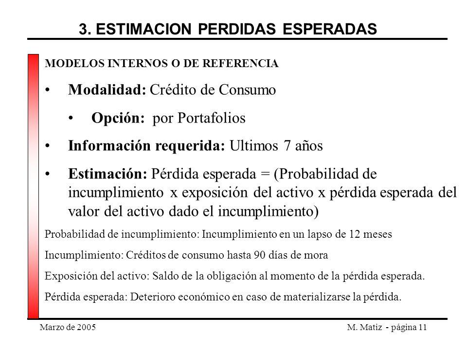 Marzo de 2005M. Matiz - página 11 MODELOS INTERNOS O DE REFERENCIA Modalidad: Crédito de Consumo Opción: por Portafolios Información requerida: Ultimo