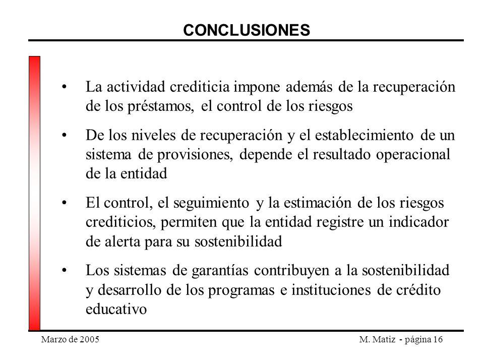 Marzo de 2005M. Matiz - página 16 CONCLUSIONES La actividad crediticia impone además de la recuperación de los préstamos, el control de los riesgos De