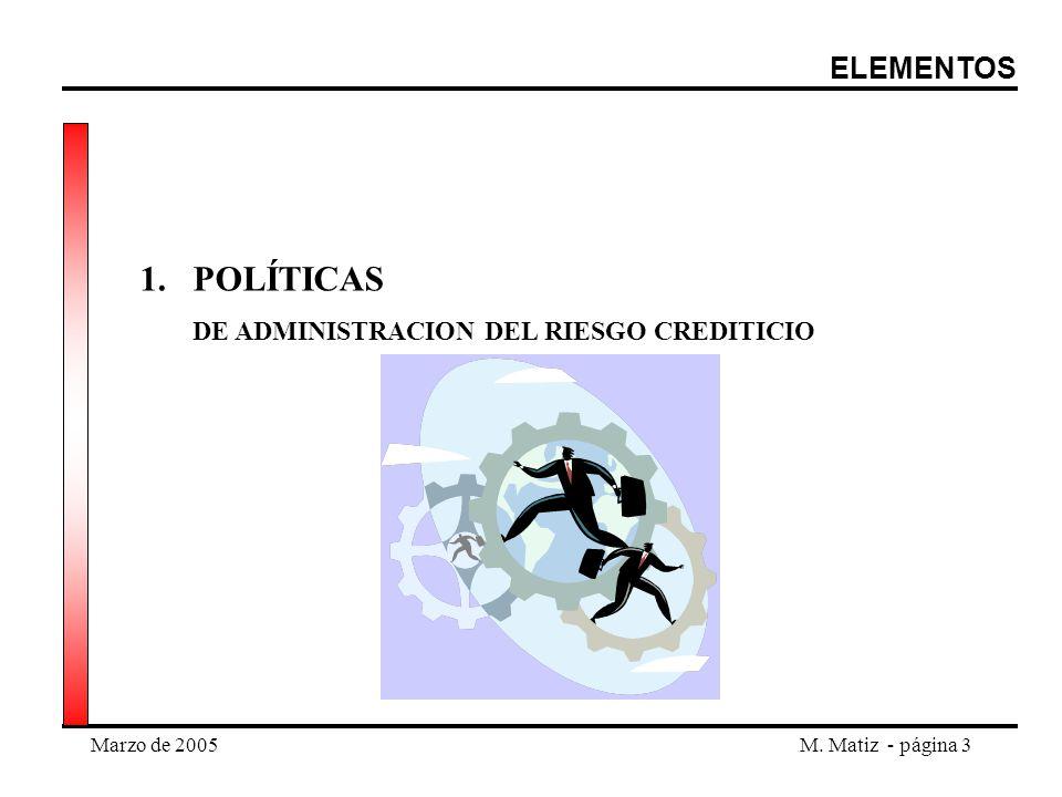 Marzo de 2005M. Matiz - página 3 1.POLÍTICAS DE ADMINISTRACION DEL RIESGO CREDITICIO ELEMENTOS