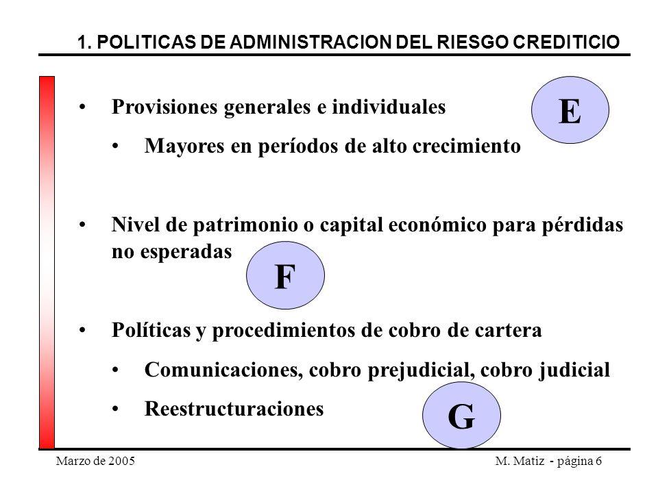 Marzo de 2005M. Matiz - página 6 Provisiones generales e individuales Mayores en períodos de alto crecimiento Nivel de patrimonio o capital económico