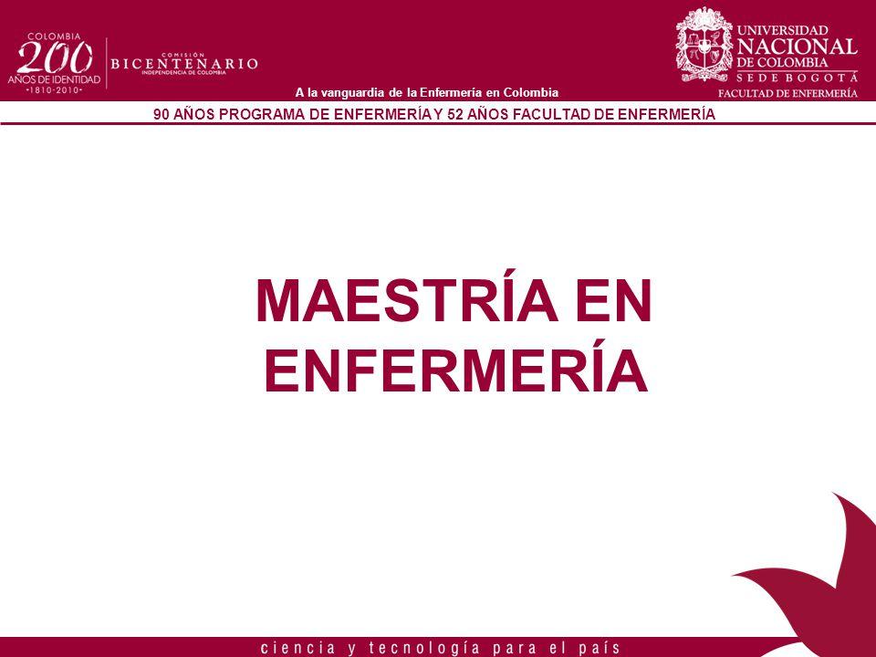 90 AÑOS PROGRAMA DE ENFERMERÍA Y 52 AÑOS FACULTAD DE ENFERMERÍA A la vanguardia de la Enfermería en Colombia MAESTRÍA EN ENFERMERÍA