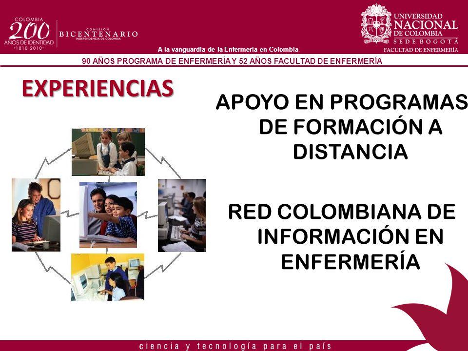 90 AÑOS PROGRAMA DE ENFERMERÍA Y 52 AÑOS FACULTAD DE ENFERMERÍA A la vanguardia de la Enfermería en Colombia EXPERIENCIAS APOYO EN PROGRAMAS DE FORMAC