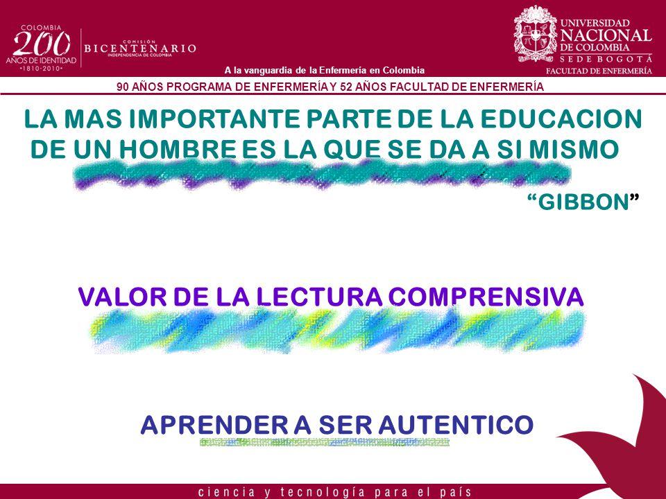 90 AÑOS PROGRAMA DE ENFERMERÍA Y 52 AÑOS FACULTAD DE ENFERMERÍA A la vanguardia de la Enfermería en Colombia LA MAS IMPORTANTE PARTE DE LA EDUCACION D