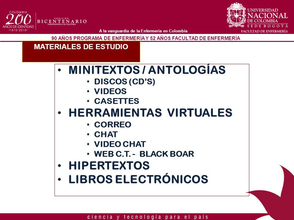 90 AÑOS PROGRAMA DE ENFERMERÍA Y 52 AÑOS FACULTAD DE ENFERMERÍA A la vanguardia de la Enfermería en Colombia MATERIALES DE ESTUDIO MINITEXTOS / ANTOLO