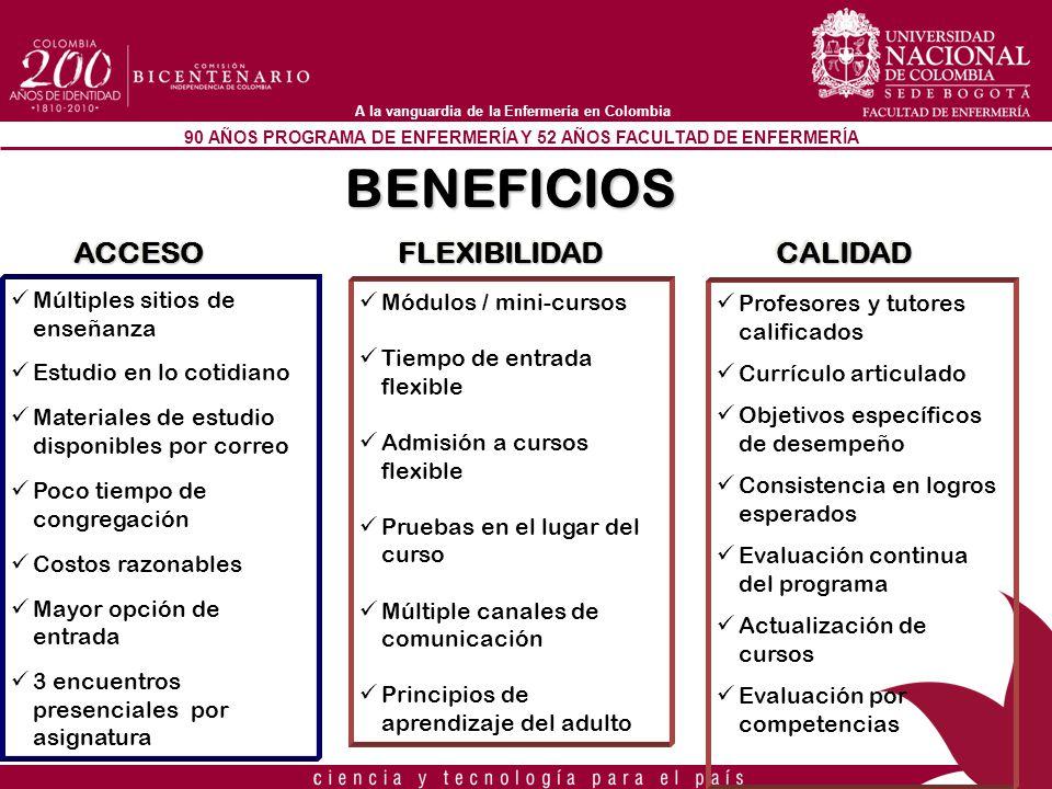 90 AÑOS PROGRAMA DE ENFERMERÍA Y 52 AÑOS FACULTAD DE ENFERMERÍA A la vanguardia de la Enfermería en Colombia BENEFICIOS ACCESOACCESOFLEXIBILIDADFLEXIB