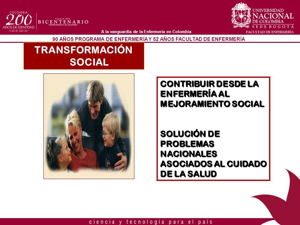 90 AÑOS PROGRAMA DE ENFERMERÍA Y 52 AÑOS FACULTAD DE ENFERMERÍA A la vanguardia de la Enfermería en Colombia TRANSFORMACIÓN SOCIAL CONTRIBUIR DESDE LA