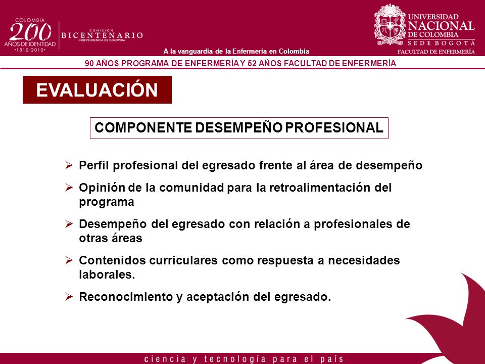 90 AÑOS PROGRAMA DE ENFERMERÍA Y 52 AÑOS FACULTAD DE ENFERMERÍA A la vanguardia de la Enfermería en Colombia COMPONENTE DESEMPEÑO PROFESIONAL Perfil p