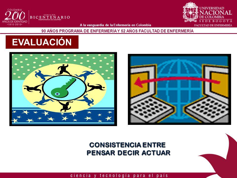 90 AÑOS PROGRAMA DE ENFERMERÍA Y 52 AÑOS FACULTAD DE ENFERMERÍA A la vanguardia de la Enfermería en Colombia CONSISTENCIA ENTRE PENSAR DECIR ACTUAR PE