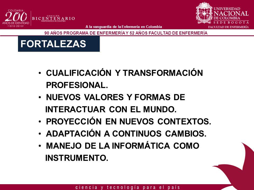 90 AÑOS PROGRAMA DE ENFERMERÍA Y 52 AÑOS FACULTAD DE ENFERMERÍA A la vanguardia de la Enfermería en Colombia CUALIFICACIÓN Y TRANSFORMACIÓN PROFESIONA