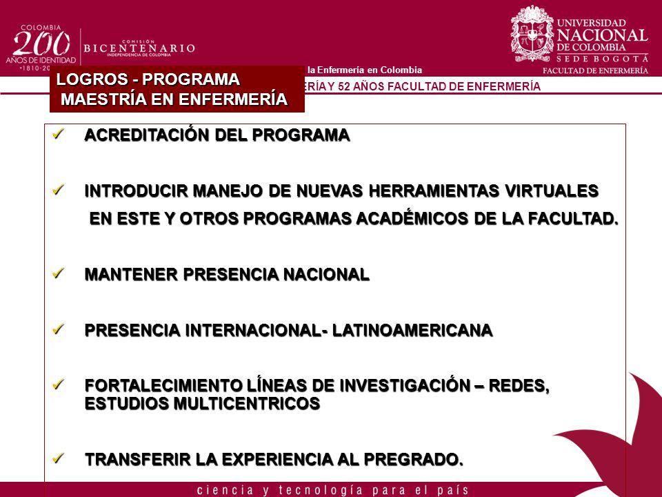90 AÑOS PROGRAMA DE ENFERMERÍA Y 52 AÑOS FACULTAD DE ENFERMERÍA A la vanguardia de la Enfermería en Colombia LOGROS - PROGRAMA MAESTRÍA EN ENFERMERÍA
