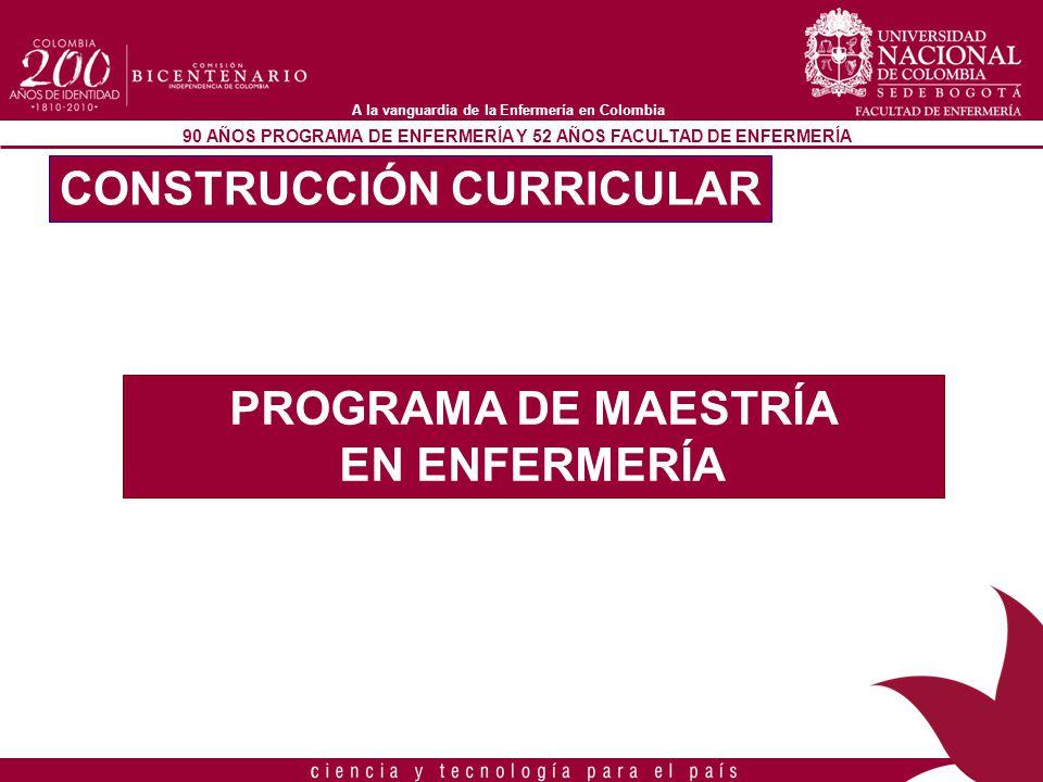 90 AÑOS PROGRAMA DE ENFERMERÍA Y 52 AÑOS FACULTAD DE ENFERMERÍA A la vanguardia de la Enfermería en Colombia PRINCIPIOS DEL PROGRAMA 1.PERTINENCIA 2.EDUCACIÓN PERMANENTE 3.DIVERSIDAD 4.INTERACCIÓN CONTINUA 5.TRANSFORMACIÓN SOCIAL CONSTRUCCIÓN CURRICULAR