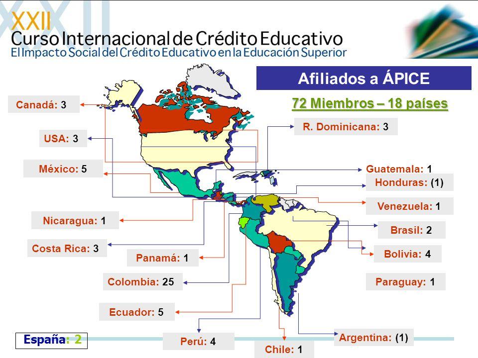 Colombia: 25 Perú: 4 Venezuela: 1 Afiliados a ÁPICE Canadá: 3 USA: 3 México: 5 Honduras: (1) Nicaragua: 1 Costa Rica: 3 Chile: 1 Ecuador: 5 Panamá: 1