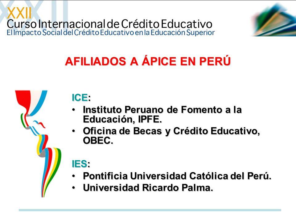 AFILIADOS A ÁPICE EN PERÚ ICE: Instituto Peruano de Fomento a la Educación, IPFE.Instituto Peruano de Fomento a la Educación, IPFE. Oficina de Becas y