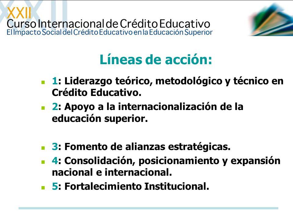 Líneas de acción: 1: Liderazgo teórico, metodológico y técnico en Crédito Educativo. 2: Apoyo a la internacionalización de la educación superior. 3: F