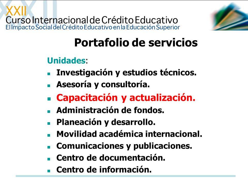 Portafolio de servicios Unidades: Investigación y estudios técnicos. Asesoría y consultoría. Capacitación y actualización. Administración de fondos. P