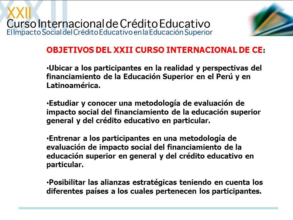 OBJETIVOS DEL XXII CURSO INTERNACIONAL DE CE : Ubicar a los participantes en la realidad y perspectivas del financiamiento de la Educación Superior en