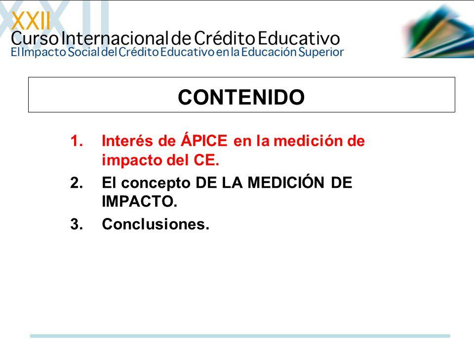 CONTENIDO 1.Interés de ÁPICE en la medición de impacto del CE. 2.El concepto DE LA MEDICIÓN DE IMPACTO. 3.Conclusiones.