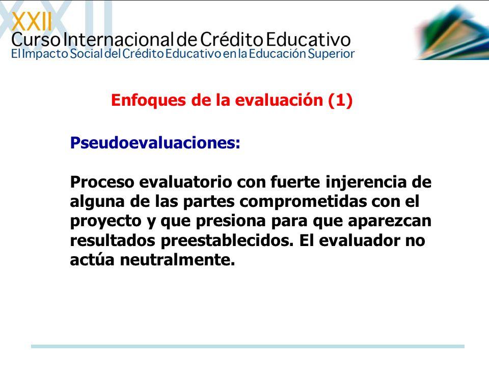 Enfoques de la evaluación (1) Pseudoevaluaciones: Proceso evaluatorio con fuerte injerencia de alguna de las partes comprometidas con el proyecto y qu