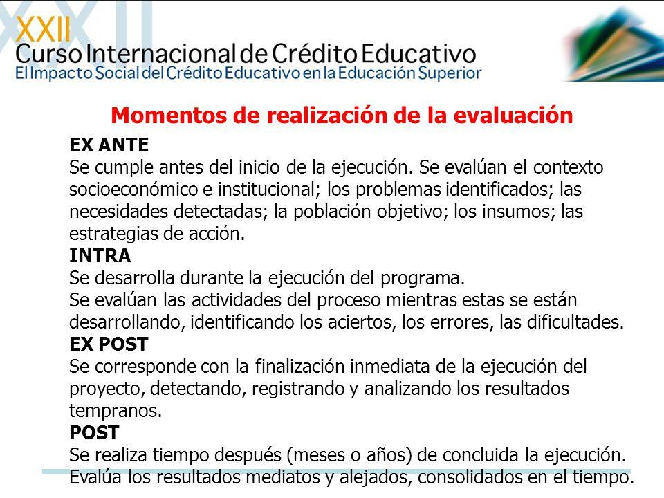 EX ANTE Se cumple antes del inicio de la ejecución. Se evalúan el contexto socioeconómico e institucional; los problemas identificados; las necesidade