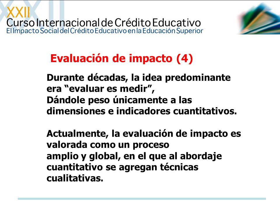 Evaluación de impacto (4) Durante décadas, la idea predominante era evaluar es medir, Dándole peso únicamente a las dimensiones e indicadores cuantita