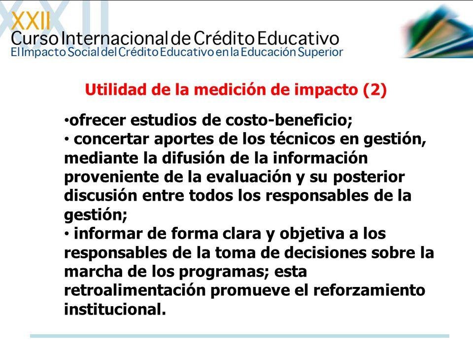ofrecer estudios de costo-beneficio; concertar aportes de los técnicos en gestión, mediante la difusión de la información proveniente de la evaluación